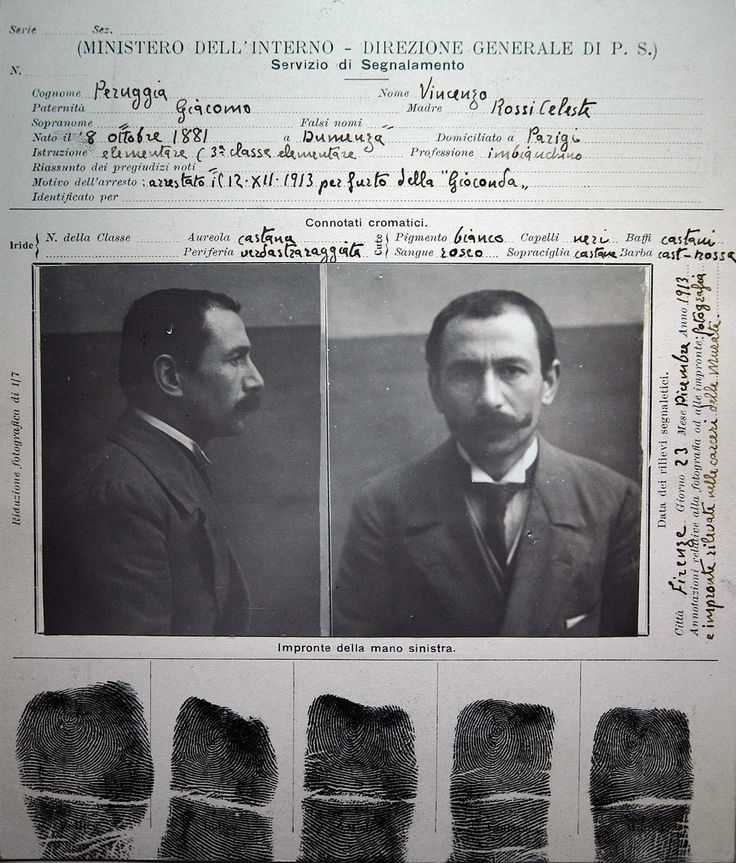 August 21, 1911: The Mona Lisa is stolen from the Louvre museum in Paris by former employee Vincenzo Peruggia. It was later recovered in Florence, Italy in 1913. https://en.wikipedia.org/wiki/Vincenzo_Peruggia Photo: Mugshot of Vincenzo Peruggia