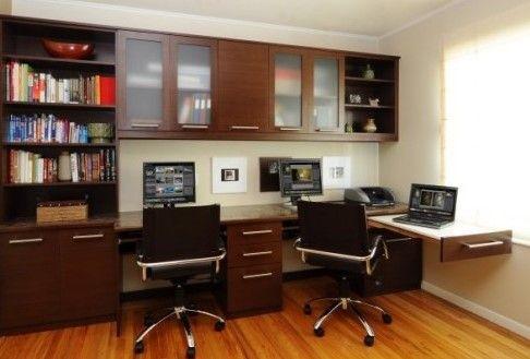 Desain Ruang Kerja Minimalis di Dalam Rumah Nyaman 2 - Ruang kerja 2 kursi minimalis nuansa cokelat