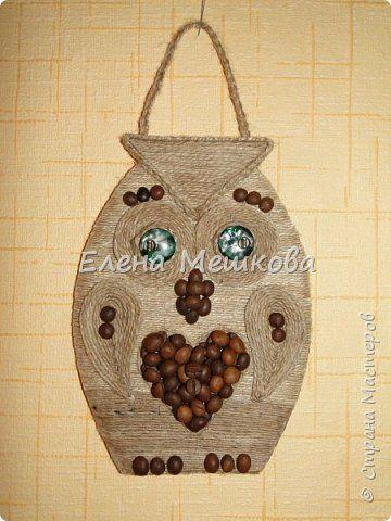 Картина панно рисунок Лепка Кофе шпагат и мешковина Кофе фото 4