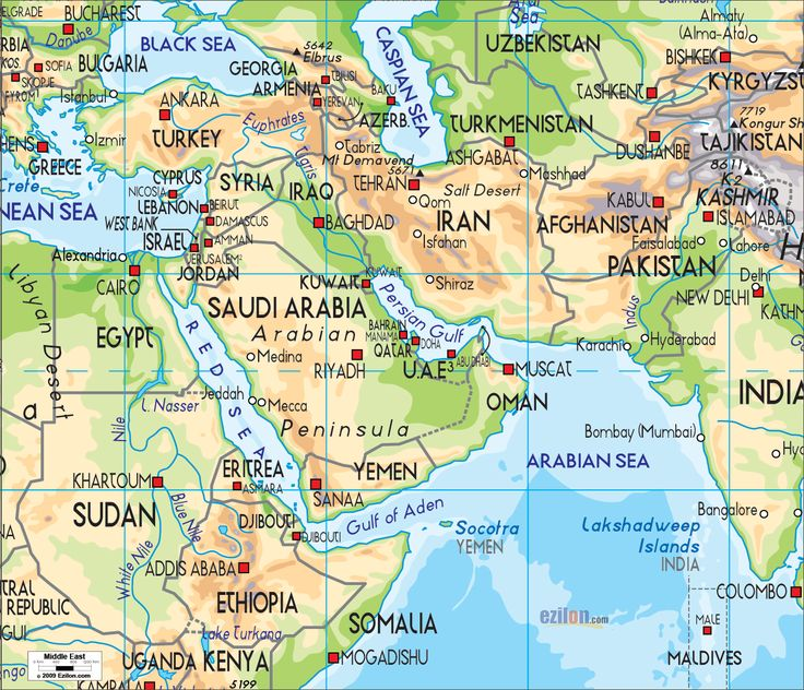 Physical Map of Middle East and Middle Eastern Countries