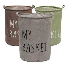 Cotton Linen Sorter Bag Washing Laundry Hamper Clothes Bin Storage Basket Toys