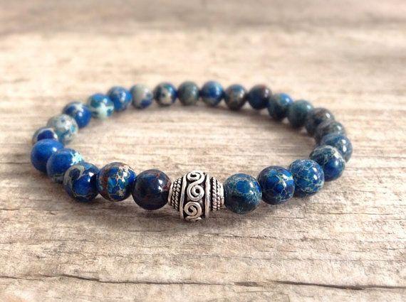Men's Bracelet - Dark Blue Jasper & Bali Silver
