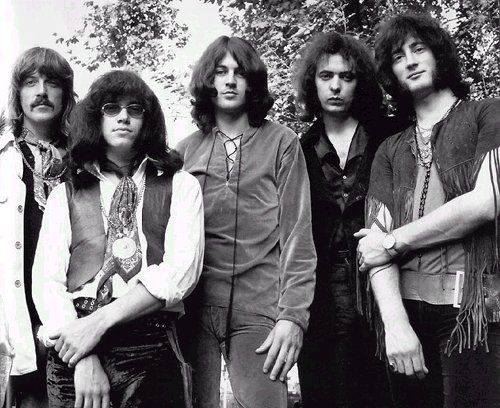The classic and most celebrated Deep Purple line-up. From left to right, Jon Lord (keyboards), Ian Paice (drums), Ian Gillan (in my opinion the best rock vocalist of the 70's :-), Ritchie Blackmore (lead guitar) and Roger Glover (bass guitar). Paice, Gillan and Glover remain with the band.