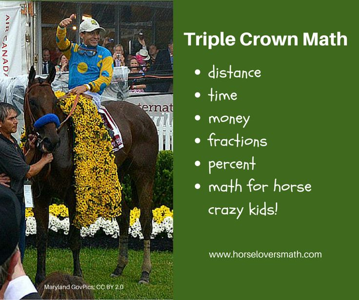 Of course we had to create a post devoted to Triple Crown Math! Math Club members compare race distances and finishing times, learn about a horse 'length', and calculate a jockey's portion of the winning purse! https://www.horseloversmath.com/triplecrownmathforkids