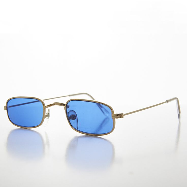 Rectangle Color Tinted Lens Hippy Vintage Sunglasses - HULU