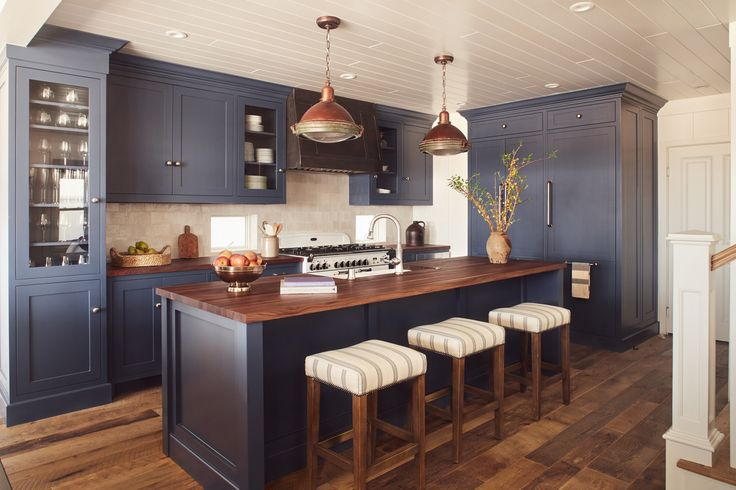 Balboa Peninsula, Newport Beach, blue nautical kitchen by Brittany Stiles