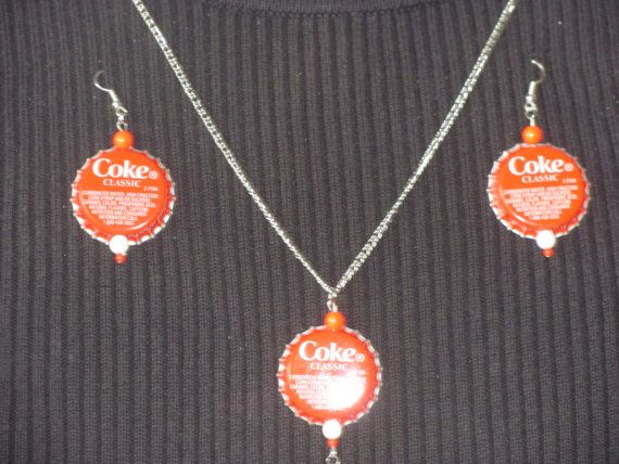 Coke jewelry earrings and necklace by StudentShop13 on Etsy