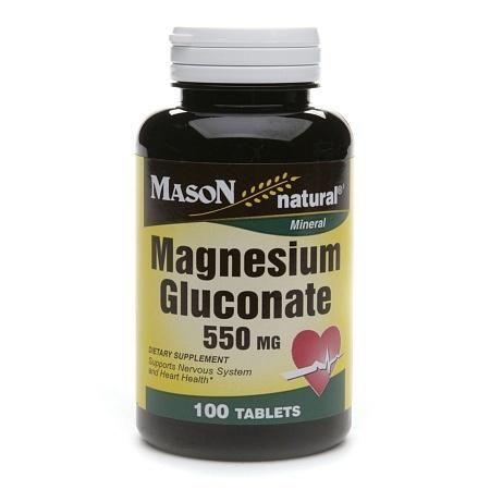 Mason Natural Magnesium Gluconate, 550mg, Tablets - 100 ea