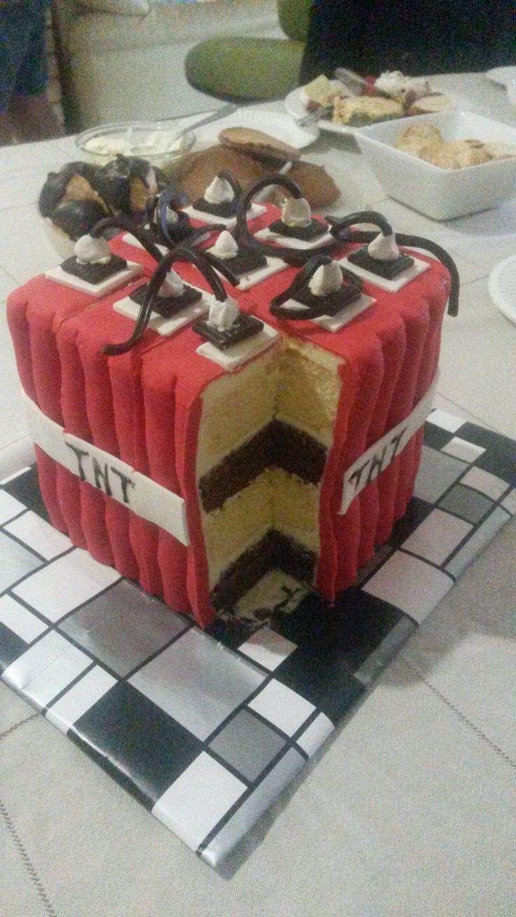 Mine Craft TNT cake