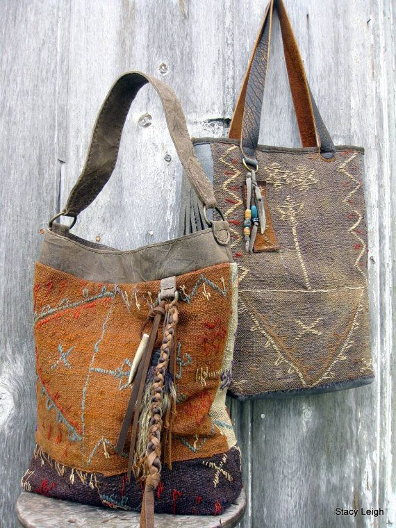 Carpet Bag from 19th Century Hand Woven Tribal Rug by stacyleigh