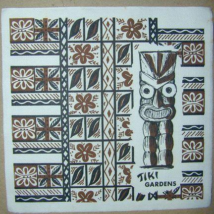 Tiki Gardens NapkinTiki Polynesian Hawaiian, Tiki Lounges, Tiki, Tiki Central, Tiki Gardens, Take Time