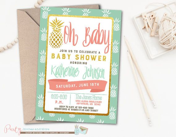 Aloha Baby Shower Invitation, Luau Baby Shower Invitation, Pineapple Invitation…