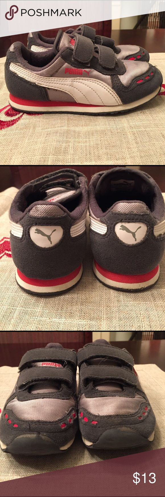 Boys Puma Cabana Racer w/ grey mesh sneakers SZ 11.5. Grey with some red. Worn. Minor scratches on front but not very noticeable. Still in box 📦 Puma Shoes Sneakers