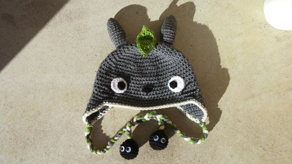 Handmade crochet inspired Totoro hat with sprite tassels!  This grey Totoro hat is a must have for any fan of the film My Neighbor Totoro!
