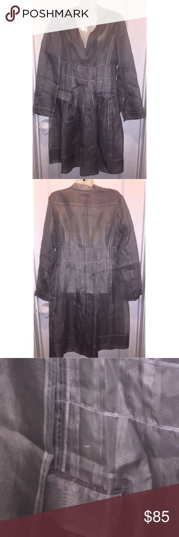 Bcbgmaxazria runway organza silk coat Excellent condition . Flaw shown in last pic. Belt not included BCBGMaxAzria Jackets & Coats Trench Coats