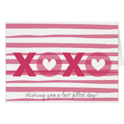 Pink Valentine S Day Xoxo Your Custom Message Card Valentine Day