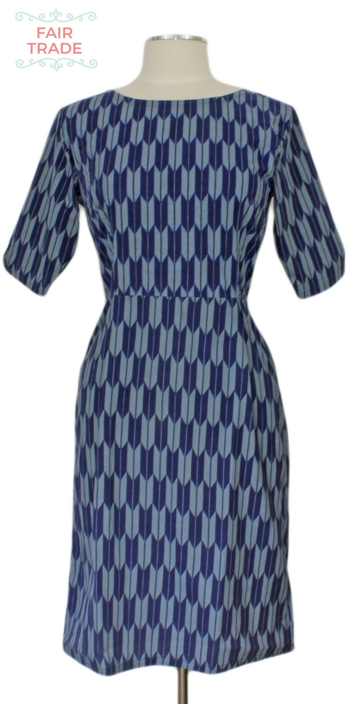 Turn Back Time Dress at Ever Rose #matatraders #fairtrade #blue #herringbone #mod #60s #retro #sleeves #dress