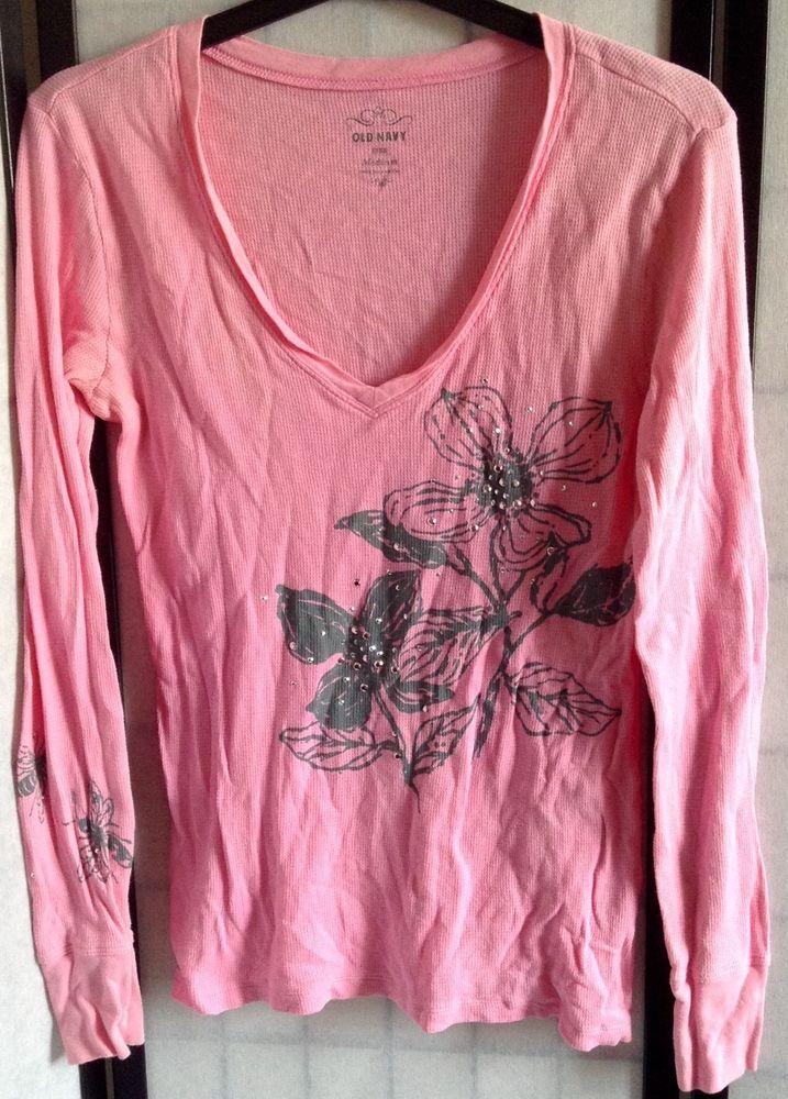 Old Navy Women's M Pink Long Sleeve V-Neck Embellished Graphic Waffle Shirt #OldNavy #Vneck #Casual