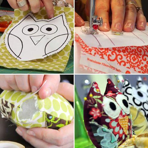 Owl tutorial .. looks easy and fun :)Cushions Tutorials, Owls Pillows, Pin Cushions, Owls Pin, Owls Tutorials, Pincushions, Stuffed Owls, Owls Crafts, Diy Owls
