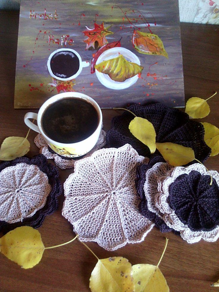 Купить Осенний кофе - коричневый, подставки под чашки, подставка под кружку, картина в подарок