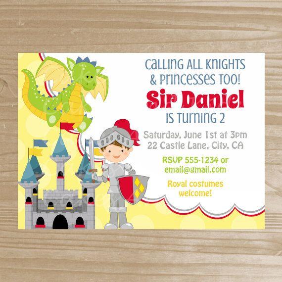 Knight Invitation - Knight and Dragon Printable Invite - Medieval Birthday Invitation - Digital File