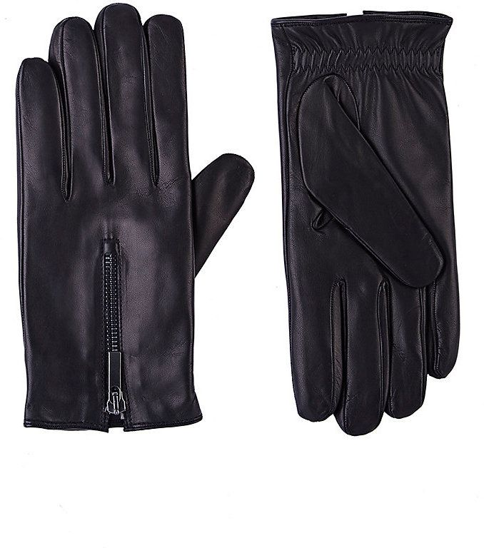 Barneys New York Men's Zip-Cuff Gloves-BLACK