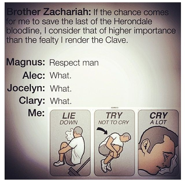 Oh yes because Brother Zachariah is actually Jem and Magnus knows the truth. Argh. Jemmy