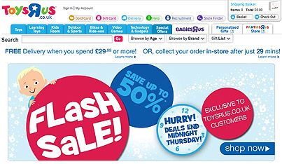 ATTENTION: #ToysRUs Online FLASH #SALE: up to 50% OFF. Offer ends 23:59pm DST Thursday 10th October 2013. #Discounts