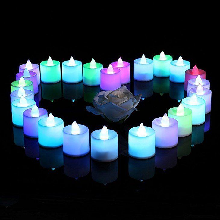 Ledertek 24 Led Kerzen Flammenlose Teelichter Flackernde Kerze