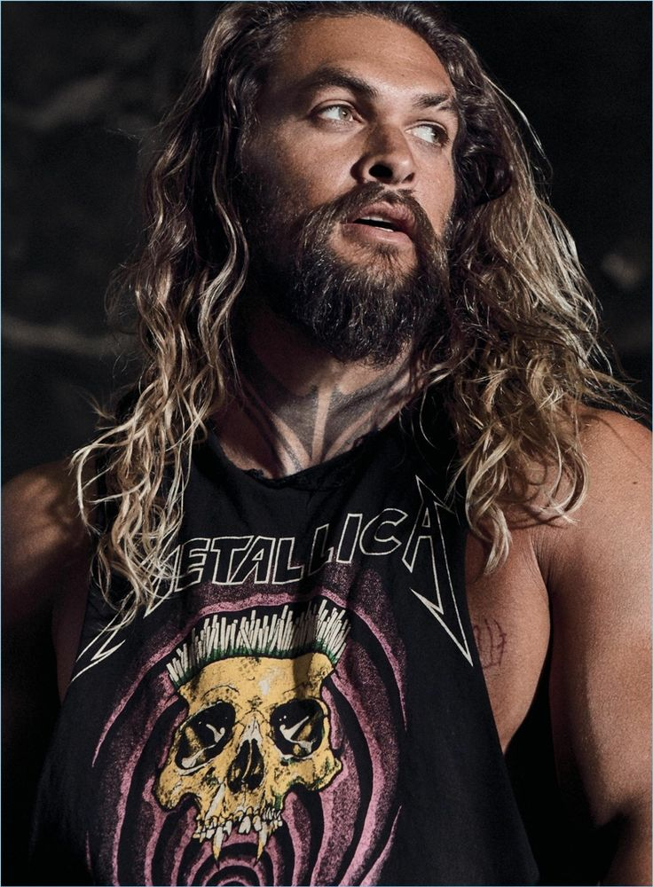 Actor Jason Momoa rocks a Metallica cut-off tee for Men's Health.
