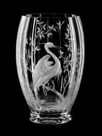   Aida hand made Vase Heron  Crystal Glass Czech