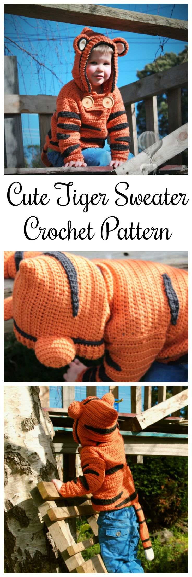 Cute Tiger Sweater Crochet Pattern | Instant Digital download #tiger #kids #ad #etsy #style #kidstyle #etsyseller