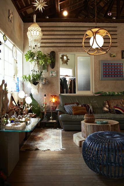 Beautifully done bohemian living room - love