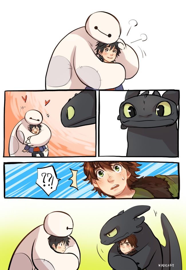 Crossover with Big Hero 6 ... Drawn by kadeart ... How to train your dragon, toothless, hiccup, night fury, dragon, viking, big hero 6, hamada hiro, baymax
