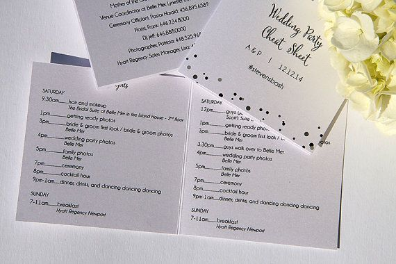 Wedding Agenda Timeline Pocket Cheat Sheet with Confetti for Wedding Party or Guests PRINTABLE DIGITAL or PRINTED