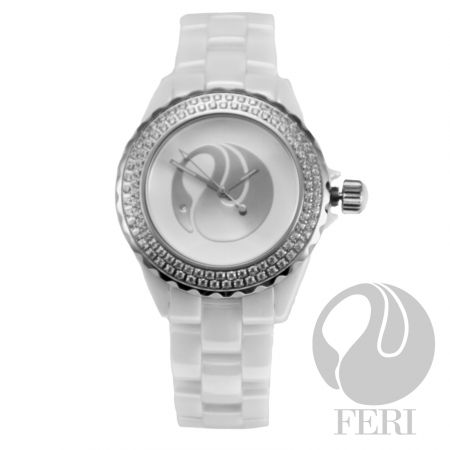 FERI - ADA Watch - White - Hi-tech ceramic construction - Set with genuine AAA cubic zirconia - Protected by a scratch resistant sapphire crystal face - Features a swiss premium movement - 3 year limited manufacturer warranty - Face Dimension: 38mm x 38mm - Band Width: 17mm - Band Length: 190mm - Extra links available - Hypoallergenic  Invest with confidence in FERI Designer Lines.