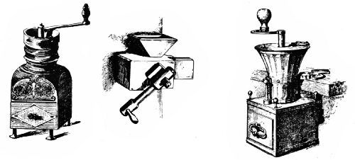 Early French Wall and Table GrindersLeft, seventeenth-century coffee grinder in the Musée de la Porte de Hal—Center, wall mill, eighteenth century—Right, iron mill, eighteenth century