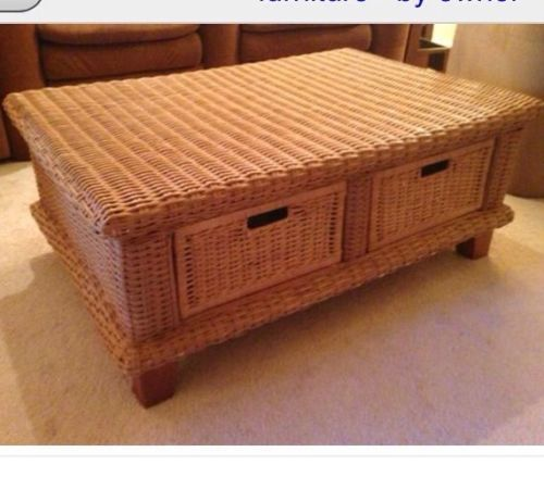 Coffee Table With Baskets: British Isles Wicker Coffee Table With Storage Baskets