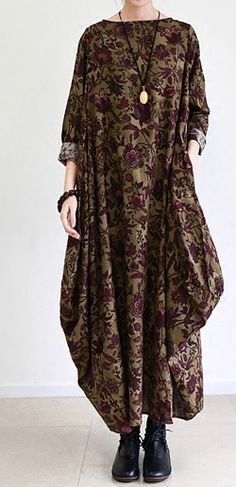 2016 fall brown baggy long sleeve linen dresses long cotton maxi dress oversized cotton clothing