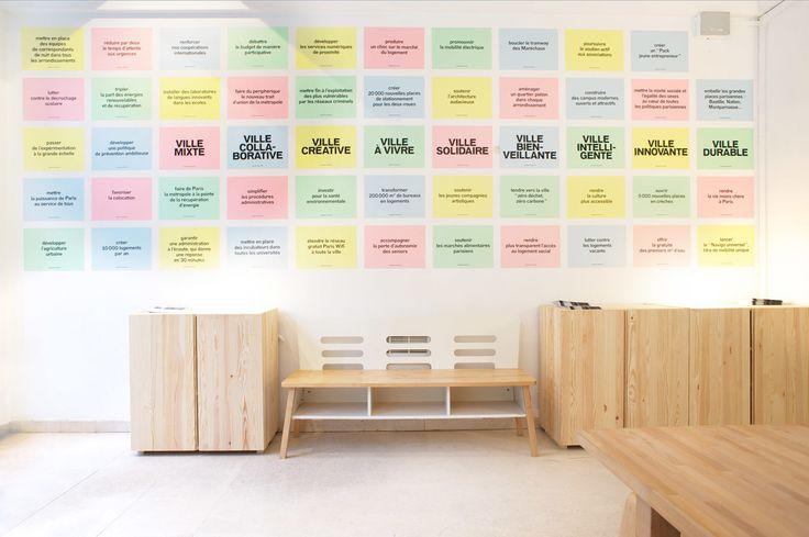 Local de campagne - Premices and co.  Conception Du local et de l'identité de campagne en collaboration avec H5 pour l'équipe d'Anne Hidalgo pour les élections municipales parisiennes 2014.   #paris #project #design  #spacedesign #furniture #architecture #office #postit #graphicdesign