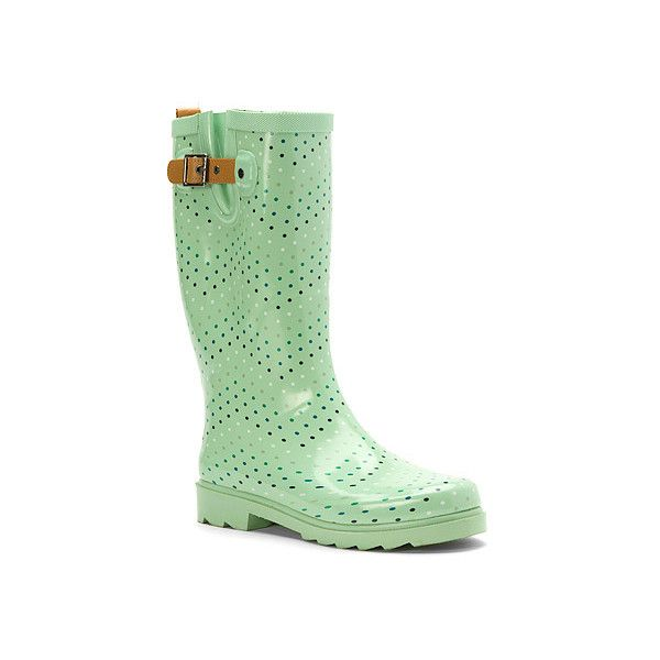 Chooka Chevron Dot ($70) ❤ liked on Polyvore featuring shoes, boots, mint, rain boots, polka dot rubber boots, pull on boots, wellies boots and mint green rain boots