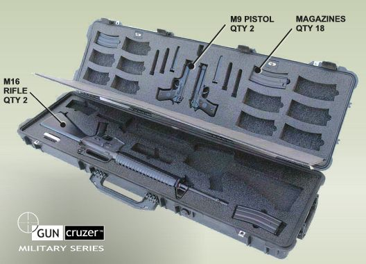 customized m-16 | Dual M16 Rifle - M9 Combination - Fast Deployment Case by GunCruzer ...