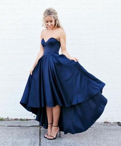 Sexy Hi-lo Dress for Prom, Navy Prom Dress,