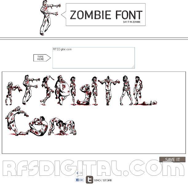 Zombiefont: Fuente [tipo de letra] hecha con zombies