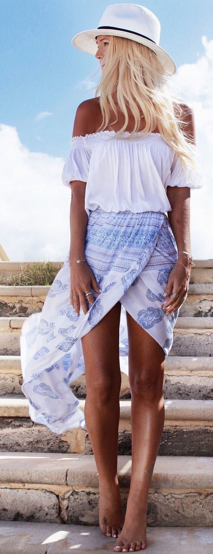 Outfit Idea. Beach style - chiffon maxi skirt, white top and straw hat. Latest summer look ideas 2015.