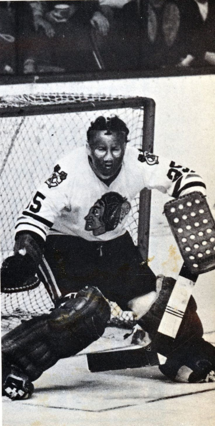 Tony Esposito sporting his early mask in the late 1960's.