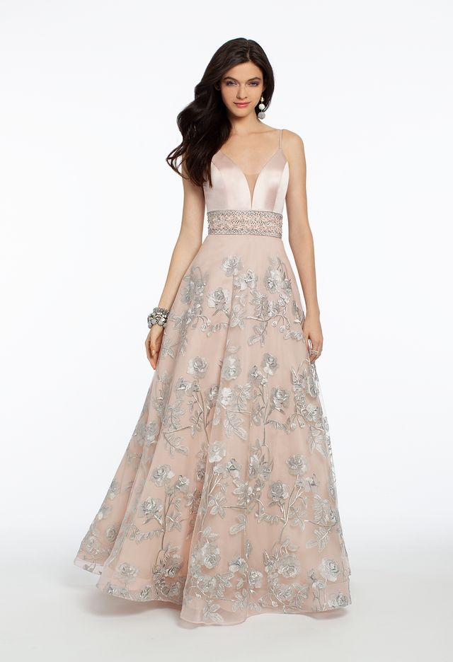 Satin Plunge Floral Embroidered Ball Gown from Camille La Vie and Group USA 339f5891a