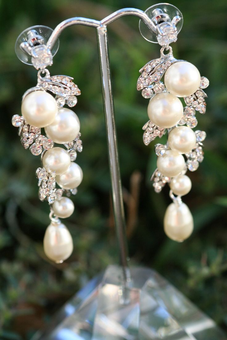 Pearl Earrings Wedding Jewelry, Bridal Earrings, Swarovski , Lamor  Swarovski Crystal And Pearl Bridal Earrings