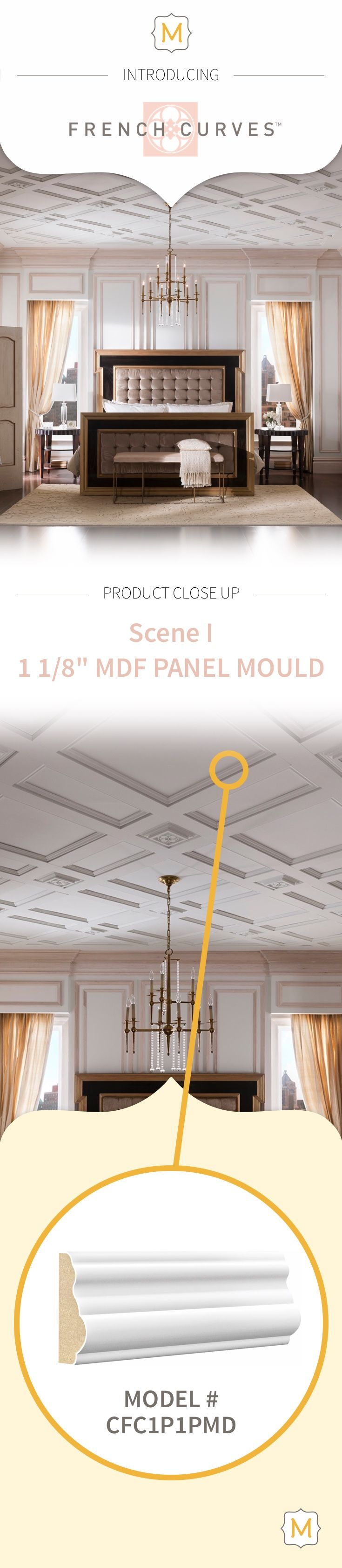 Nothing adds to the drama of a room quite like a ceiling treatment from Metrie's French Curves Collection.