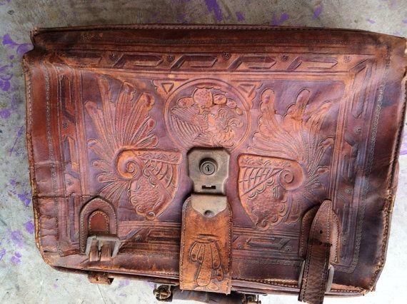 Mayan leather work bag by CandilandArt on Etsy, $97.00